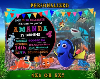 Finding Dory Invitation, Finding Dory Birthday, Finding Dory Invite, Finding Dory Party, Finding Dory Printable, Finding Dory Digital