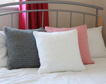 Crochet Chunky Cushion with Wool- White