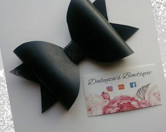 Black faux leather bow, black leather bow, black bow, faux leather