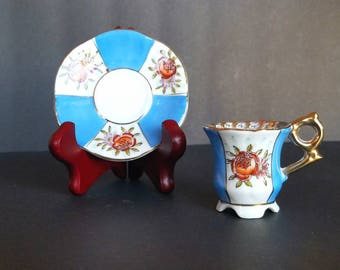 Vintage Toy-Size Hand-Painted Footed Teacup and Saucer