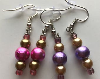 Pink and Gold Drop Earrings, Purple and Gold Drop Earrings, Pink Gold Earrings, Gold Pink Earrings, Purple Gold Earrings, drop earrings