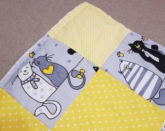 Patchwork baby quilt Minky plush blanket Baby bedding