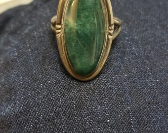 Vintage moss agate Sterling silver ring