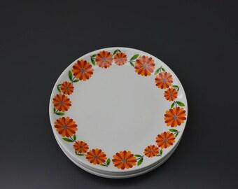6 vintage orange flowers Moulin des loups France dessert plates