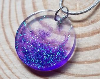 Purple Glitter Circle Pendant Resin Necklace