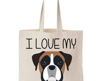 I Love My Boxer Canvas Tote Shopping Bag