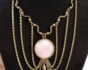"""14"""" Rose Quartz cabochon necklace with key toggle ends"""