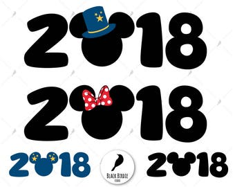Mickey 2018 svg, New Year Mickey svg, Mickey 2018 clipart, Minnie 2018 svg, Mickey hat svg, Disney cricut – eps, dxf, png, pdf, svg – files