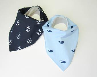 Bamboo bandana bibs-Anchors bib-Baby whales bib-Baby boy bibs-Boy nautical bibs-Baby shower gift-Boy bibs