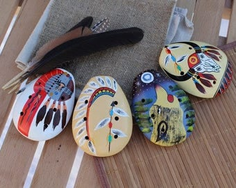 """Ocarina hand painted """"the Song of the Ancestors""""."""