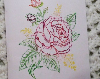 Red Rose All Occasion Greeting Card, Handmade Rose Card, Made in the USA, #321