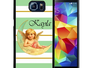 Personalized Rubber Case For Samsung S5, S6, S6 edge, S6 Edge Plus, S7, S7 Edge,  8, 8 plus -  Mint Vintage Angel