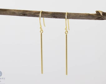 925 Sterling Silver / Gold Plated Minimalistic Bar Earring