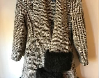 Black and White 60s YouthCraft Pea Coat with Faux Fur Bottom Lining & Attached Muff Sleeves