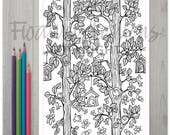 Printable Birdhouses in Trees Colouring Page