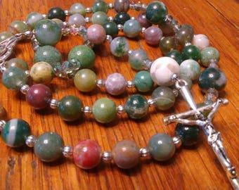 Catholic Rosary - Natural Jasper Bead Rosary, Semi-precious Gemstone Rosary, Heirloom Quality, 5 Decade Rosary, Flex Wire