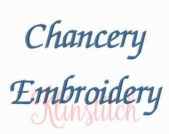 50% Sale!! Chancery Embroidery Fonts 4 Sizes Fonts BX Fonts Embroidery Designs PES Fonts Alphabets - Instant Download