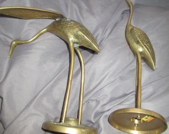 Mid-Century Brass Heron/Crane Sculpture - a Pair