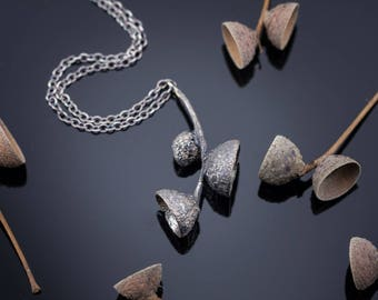 Unique pendant - Oxidized sterling silver pendant - Acorn caps pendant
