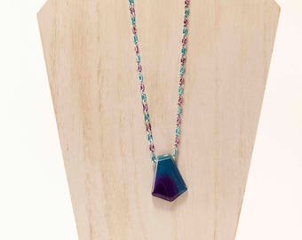 Far Out - Purple Blue Onyx Agate Chain Necklace