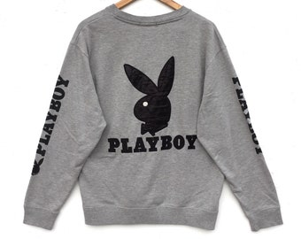 Playboy bunny Sweatshirt Grey colour Big Logo Big Bunny Embroidery Sweat Medium Size Jumper Pullover Jacket Sweater Shirt Vintage 90's