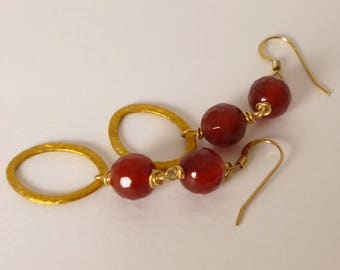 carnelian and gold earrings