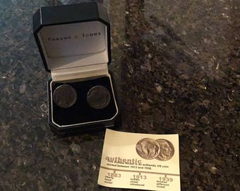 Tokens & Icons Buffalo Head Nickel Cufflinks