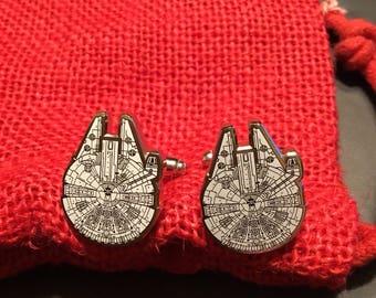 Star Wars Millennium Falcon Ship Blueprint Cufflinks