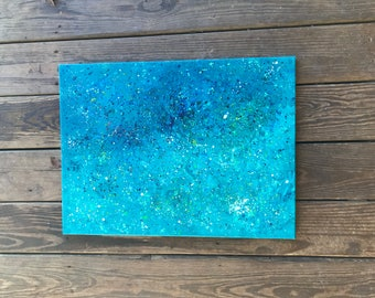 Blue Splatter Canvas Art