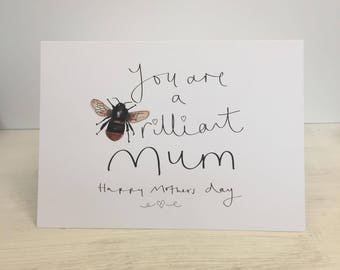 Manchester Bee inspired Brilliant Mum mothers day greeting card