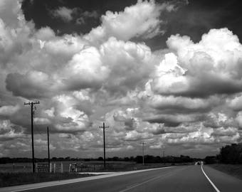 Home & Living, Wall Art Prints, Black and White Photography of Clouds, Highway, Road, Countryside, Small Town, Texas Print, Texas Wall Art