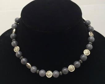 Gray Marbled Stone and Silver Bead Necklace