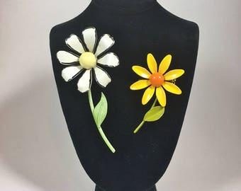 Flower pins 1960's 2 enamel