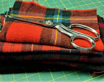 """Vintage Wool Plaids and Ebony Scraps from Original Listings in this Shop too Short to Make 18"""" Strips Felted Wool"""