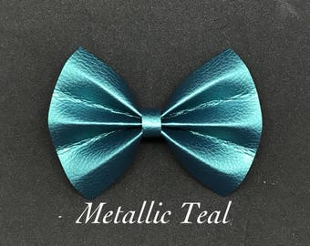 Metallic Teal- Faux Leather Bow
