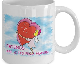 Valentine Gift, Valentine Gift Mug, Valentine Gift Idea, Valentines, Angel Friend, Coffee Mug, Tea Mug, Angel Mug, Heart Mug, Friendship Mug