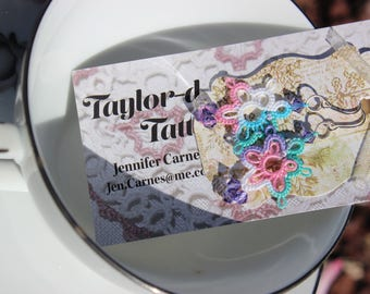 Floral Tatted Earrings with Swarovski Crystal