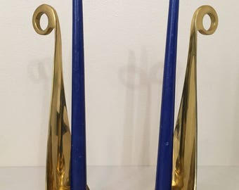 Vintage brass gold candlestick holders pair