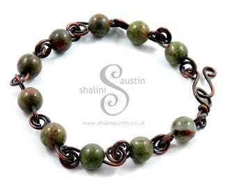 Unakite Bracelet with Antique Finish Copper Wire, Semi-precious Handcrafted Elegant Beaded Bracelet, Wire Bracelet