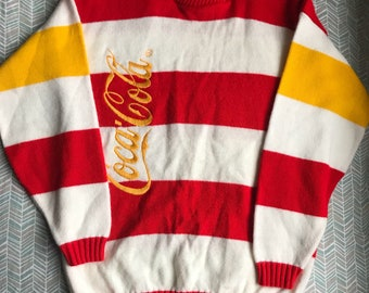 Rare 1970s Coca Cola Sweater/ vintage stripes/ striped sweater/ Adult S