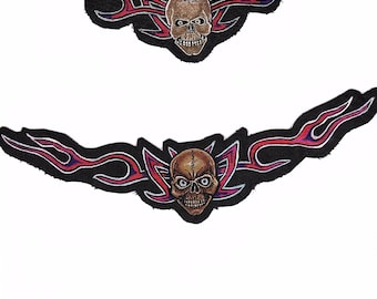 Handpainted Skull patches on Leather