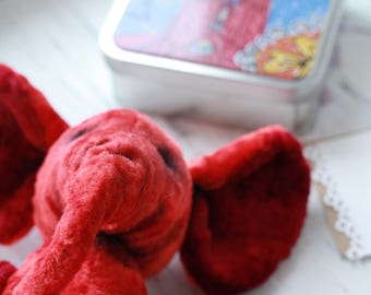 red teddy vintage elephant toy stuffed animals, Plushies antique elephant teddy, plush vintage teddy toy, artist elephant collection teddy