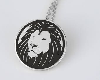 Lion head design stainless steel pendant necklace