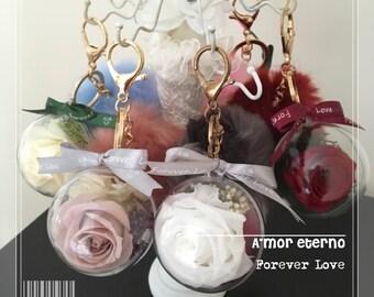 """Pompom keyrings in """"Forever Love"""" charm"""