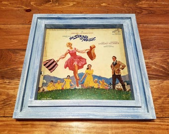 Vinyl record album cover frame, handcrafted from reclaimed wood with vintage 1965 The Sound of Music Soundtrack