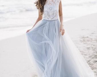 Grey Wedding Dress Diamond Sleeveless Bridal Gown Luxurious Lace Ethereal