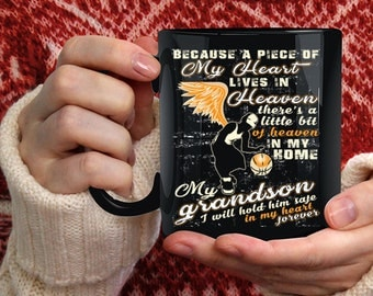 A Piece Of My Heart Lives In Heaven Coffee Mug, My Grandson Coffee Cup
