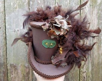 Mini top hat with lights, Steampunk, Mardi Gras, Halloween, Wedding, Festival, Mini top hat,