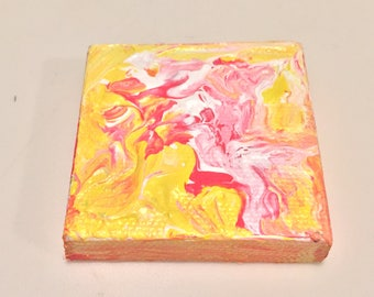 Pink and Yellow Mini Painting Acrylic on Canvas