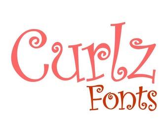 Curlz Monogram Font Alphabet Cuttable Design PNG DXF SVG & eps Decal File Silhouette Designs Cameo